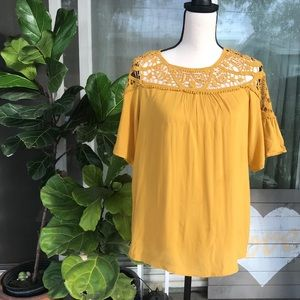 She & sky mustard crochet boho top M